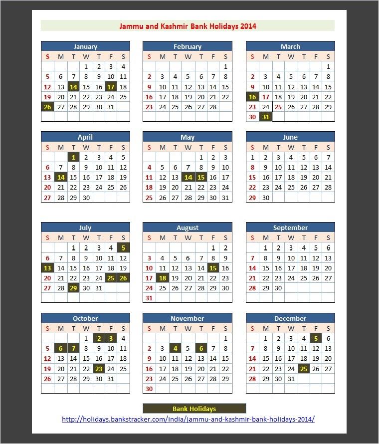 Calendar Jammu : Jammu and kashmir india bank holidays